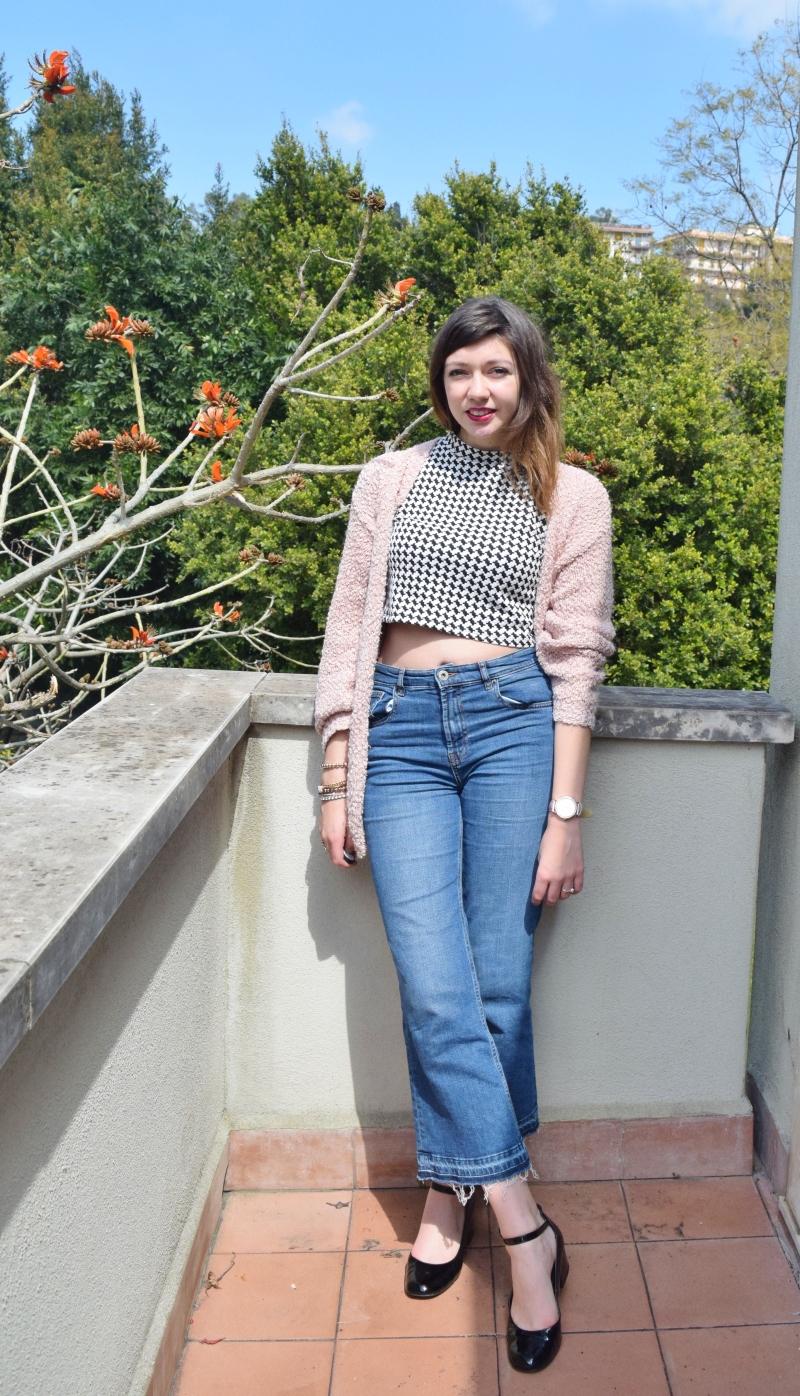 crop top with high waist denim jeans 046
