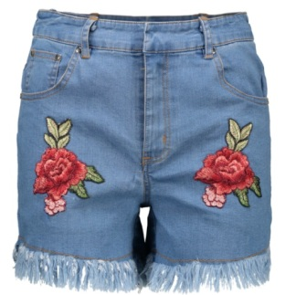 rosé brodé sur short en denim