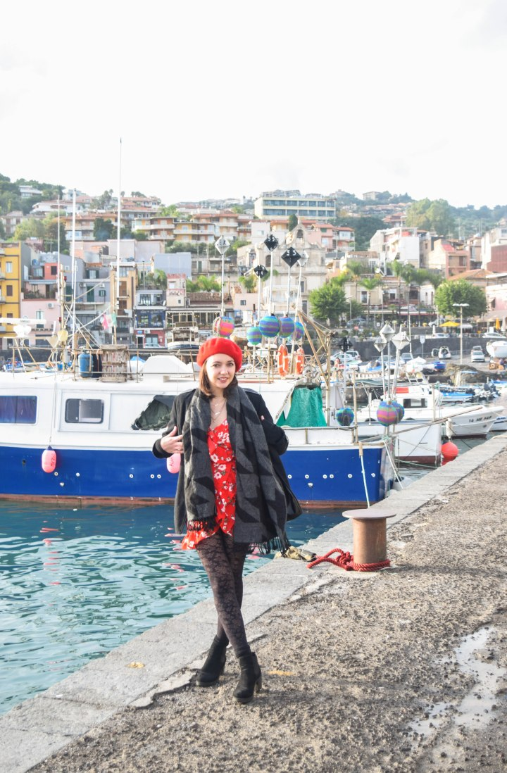 Red beret with red flower prints
