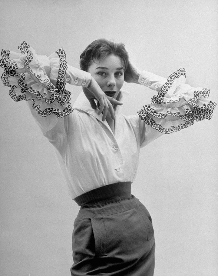 bettina graziani in hubert de givenchy ensemble, photo by nat farbamen 1952